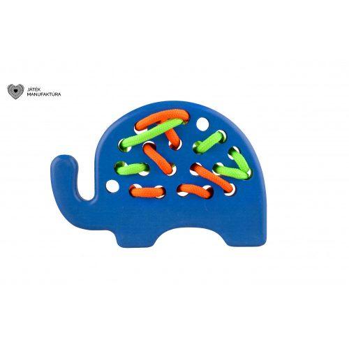 Elefánt fűzős fajáték, kék
