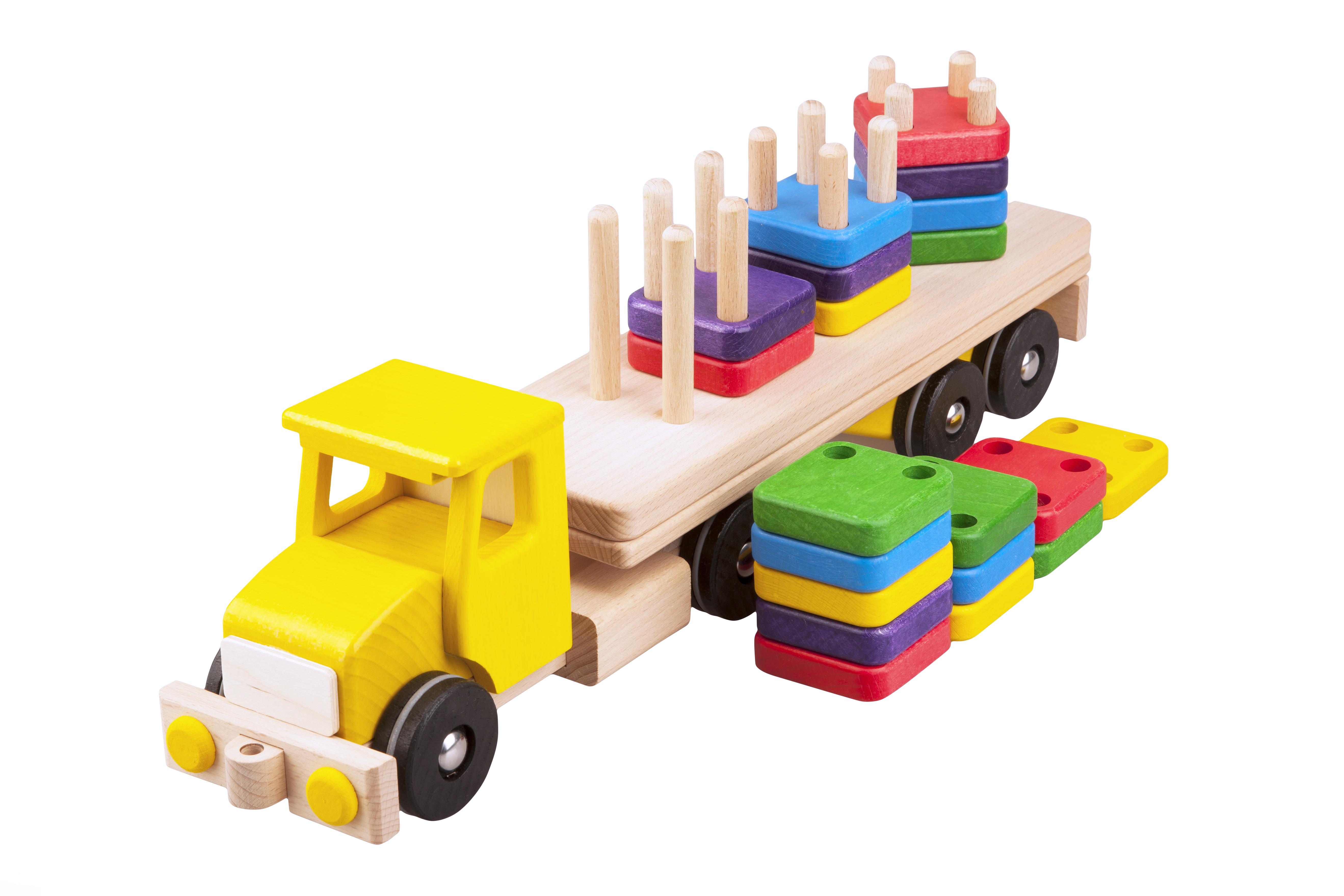 Pótkocsis teherautó, rakománnyal, fajáték