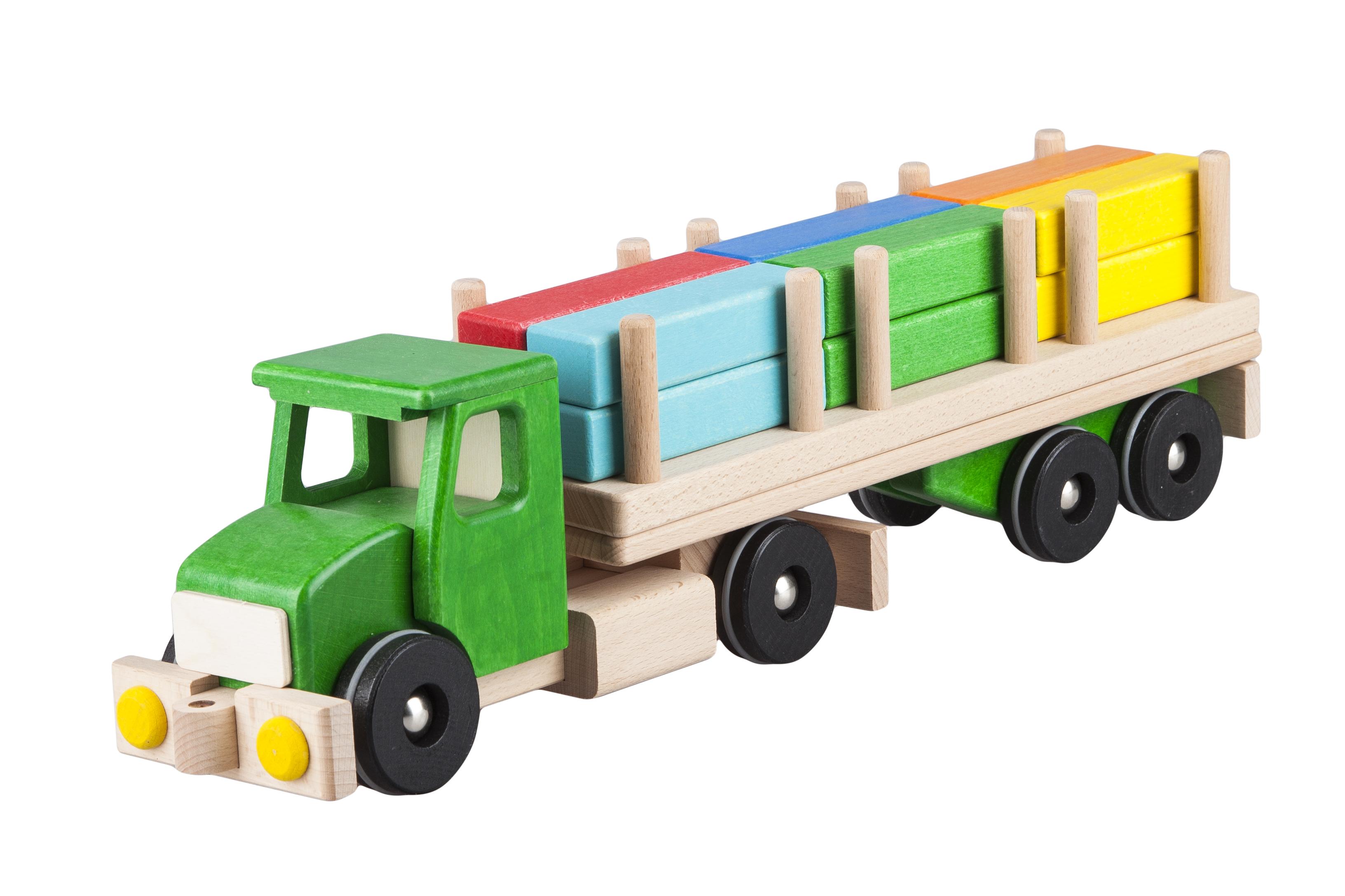 Pótkocsis teherautó, építőkocka rakománnyal, fajáték