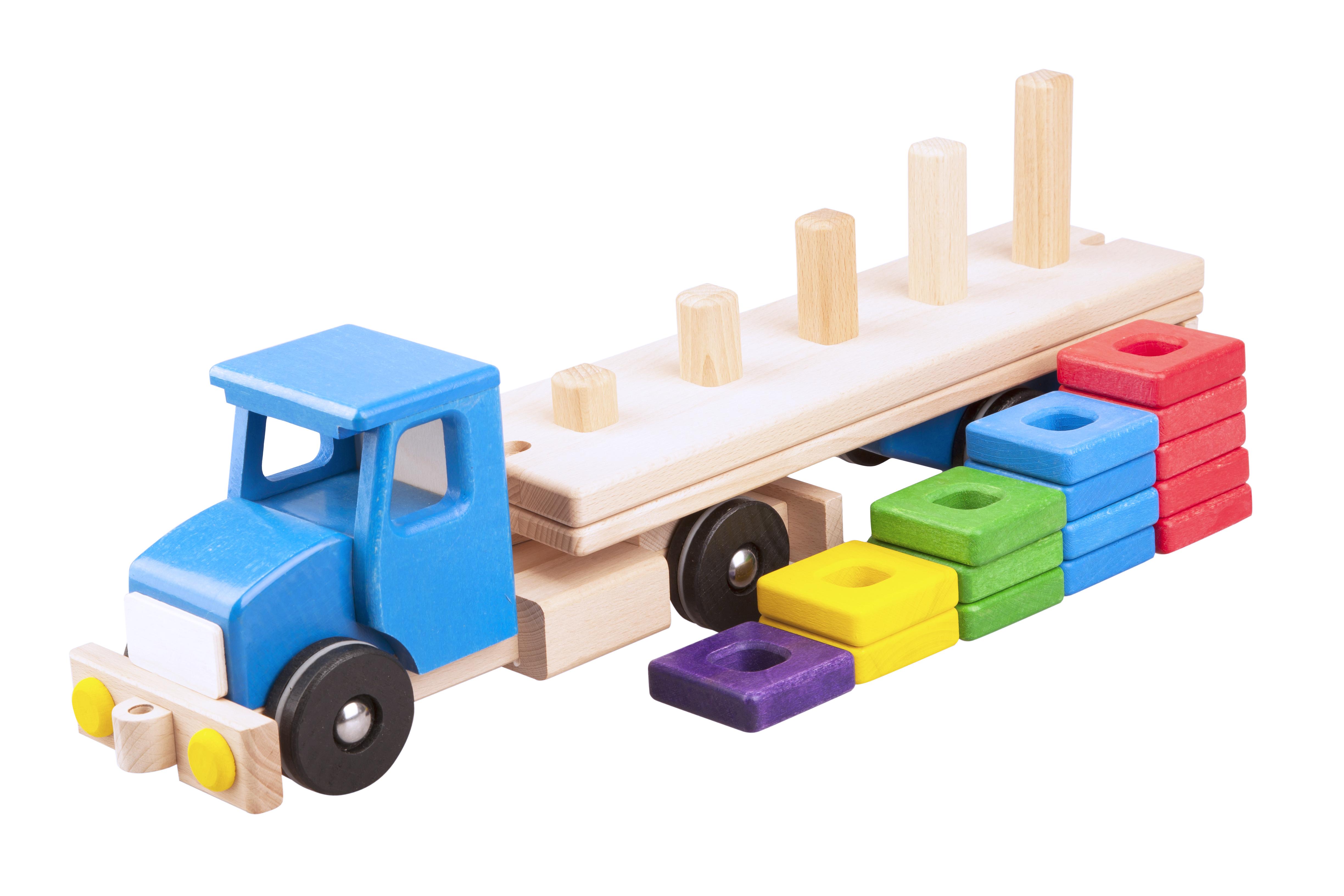 Pótkocsis teherautó, piramis rakománnyal, fajáték
